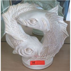 White Glazed Ceramic Double Koi Accent Décor 15 x 14
