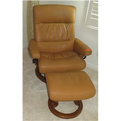 "Brown Sress-Less Leather Armchair w/ Round Wooden Base and Ottoman 32"" across, 25"" seat depth, 38"" H"
