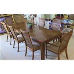 Large Dining Room Table w/ 8 Cane-Back Wooden Chairs, Removable Leaves 102 x 37.5 x 29H