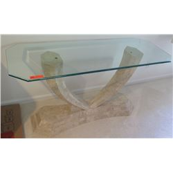 "Rectangular Glass-Topped Table w/ Natural Stone Veneer Base 5' x 22"" x 29.5""H"