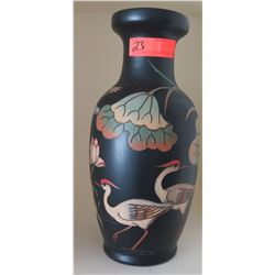 "Black Crane Motif Painted Vase, Approx. 16"" H"