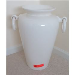 """Large Glazed White Ceramic Vessel w/ Handles 21""""H (left handle was repaired)"""