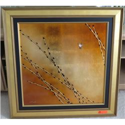 """Golden Willows"" by Patrick Guyton, Mixed Media on Metal, Signed w/ COA, 40 x 40 frame size"