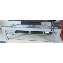 "Glass and Brushed Metal TV Stand 58 x 17 19.5""H"