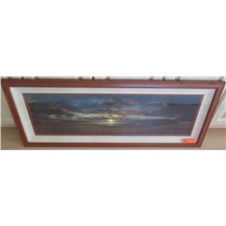 Framed Panoramic Beach at Sunset, Photographic Image, Artist Unknown, 47.5 x 20
