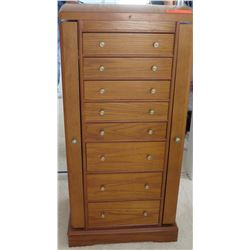 Tall Wooden 8-Drawer Jewelry Armoire w/ Mirrored Lid 18 x 13D x 38.5 H
