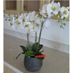 """Blue Textured Planter w/ Faux Orchid Plant, Approx. 24"""" H"""