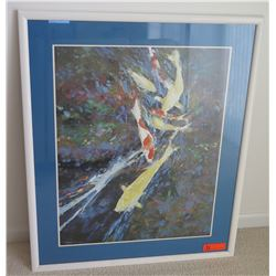 Framed Koi Fish Print, Original Signature 29.5 x 35