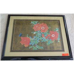 Framed Art - Red Flowers by David Lee, Original Signature 37 x 29