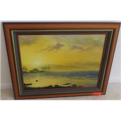 Framed Canvas, Hazy Beachscape by H.D. Wishard, Signed 33.5 x 27