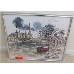 Framed Parisian River & Eiffel Tower Watercolor, Signed 23.5 x 20.5
