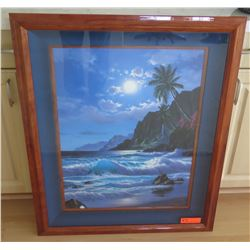Framed Moonlit Beachscape by Anthony Casay, Signed, 29.5 x 37