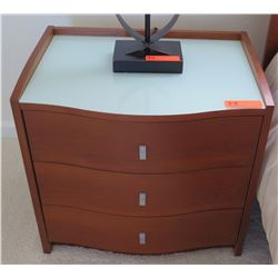 Pair: 3-Drawer Wooden Nightstands w/Contoured Front 24 x 18 x 22