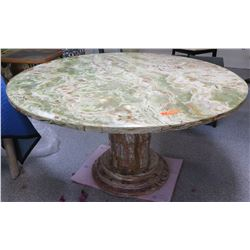 "Large Round Solid Polished Marble Table w/Column Base 55"" Dia., 29.5"" H, Beveled Edge"