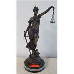 "Tall Lady Justice Mixed Metal (Bronze?) Statue, Approx. 23"" H"