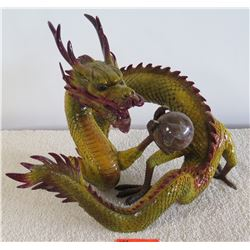 Large Painted Metal (Heavy Metal) Dragon, Approx. 20 x 16