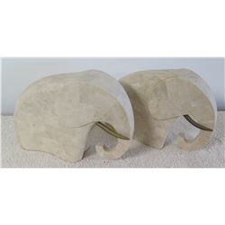Qty 2 Solid Natural Stone Elephants, Approx. 14 x 10