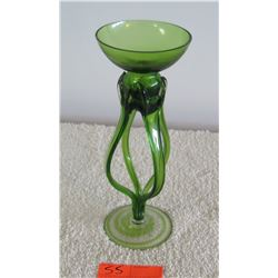 "Green Glass Candle Holder, Approx 12""H"