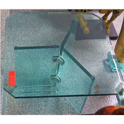 "Minimalist Square Glass Table w/ Tri-Panel Glass Stand 2' x 2' x 16"" H"