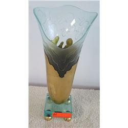 "Large Contemporary Conical Glass Vase w/Gilt Metal Overlay, Approx. 20"" H"