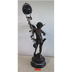 "Large Cherub Clock Statue w/Marble Base - Mixed Metal (Bronze?) 26.5""H"