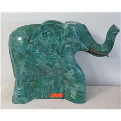 "Large Green Solid Marble Elephant, Approx. 27""W x 22""H"
