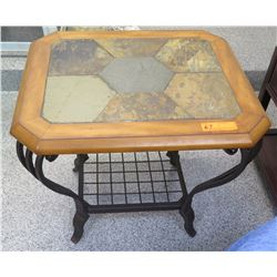 Wooden Table w/ Stone Inlay and Curved Metal Legs 26 x 22 x 24.5H