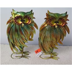 "Pair: Metallic Owls (Pier 1) Approx. 14""H"