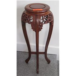 "Ornate Carved Wooden Stand w/Filigree Carving and Curved Legs, Approx. 36"" H"