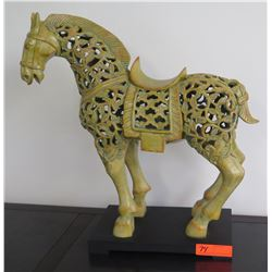 Ornate Leaf-Filigree Glazed Ceramic Horse on Stand, Green/Yellow, Approx. 14 x 23H
