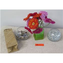Qty 3 Decorative Glass Vases, Glass Beads, Faux Daisies
