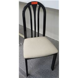 Black Lacquered High-Back Chair w/Upholstered Seat 18 x 18 x 39.5