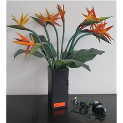 Faux Bird-of-Paradise Flowers in Black Vase
