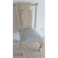 Carved High-Back Natural Stone Chair w/Upholstered Seat