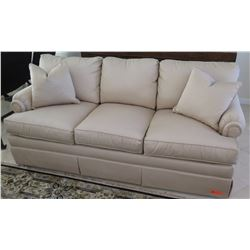Beige Sofa by Drexel Heritage (from C.S. Wo), Tightly Woven Fabric 6'4  L x 2'11  D, Arm Ht 2'6