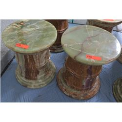 "Pair: Round Solid Polished Marble Pedestals, 15.5""Dia. (Top Comes Off-each pedestal is 3 pcs)"
