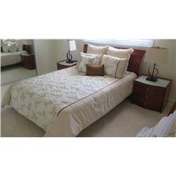 Queen Size Bed w/Wooden Headboard (includes box spring and mattress)