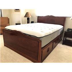 "Wooden Bed w/Carved Accents, Queen Size (includes 12"" mattress)"