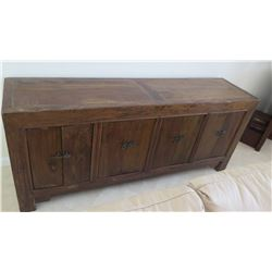"Solid Dark Wood Sideboard Cabinet Approx. 6'6 x 20"" x 33"" H (some damage-see last pictures), may hav"