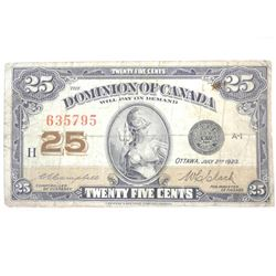 Dominion of Canada Twenty Five Cent Note. 2 Signat