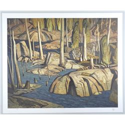 A.J. Casson (1898-1992) Litho 'Backwater' 20x24 un