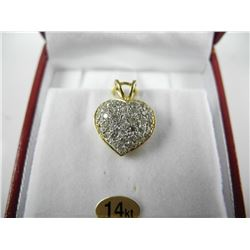 Ladies 14kt Gold Diamond Heart Shaped Cluster Pend