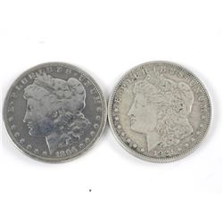 Lot (2) USA Silver Morgan Dollars - 1896 and 1921
