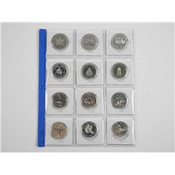 Lot (12) Canada Silver Dollars. Mixed.