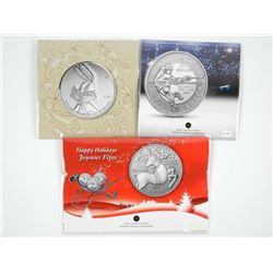 Lot (3) .9999 Fine Silver $20.00 Coins. Santa, Hoc