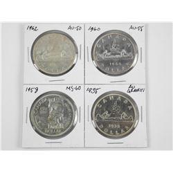 Lot (4) CAD Silver Dollars (1935 AU), (1958 MS60)