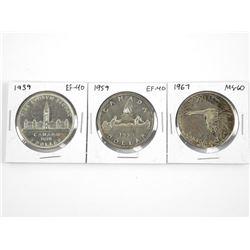 Lot (3) CAD Silver Dollars - 1939 EF40, 1959 EF40,