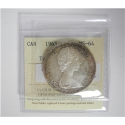 1965 Silver 1.00 Coin MS64. T-V. (MXR) ICCS.