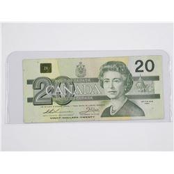 Bank of Canada 1991 Twenty Dollar Note. 'EIX' Repl