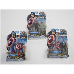 Lot (3) Hasbro, Captain America, Marvel - 'The Fir